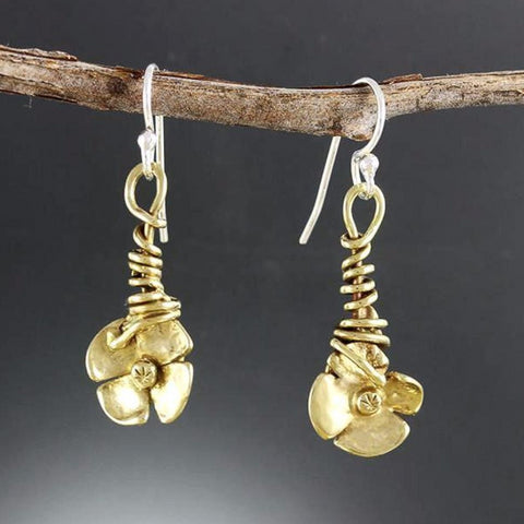 Brass Wrapped Vine Flower Earrings