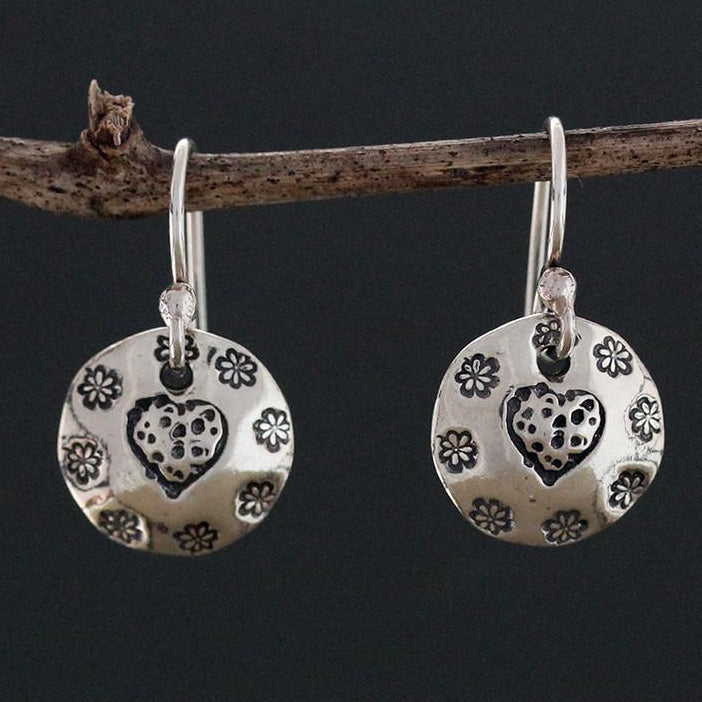 Sterling Silver Heart Stamped Earrings with Flowers
