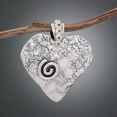 Sterling Silver Heart Pendant with Spiral and Optional Daisy
