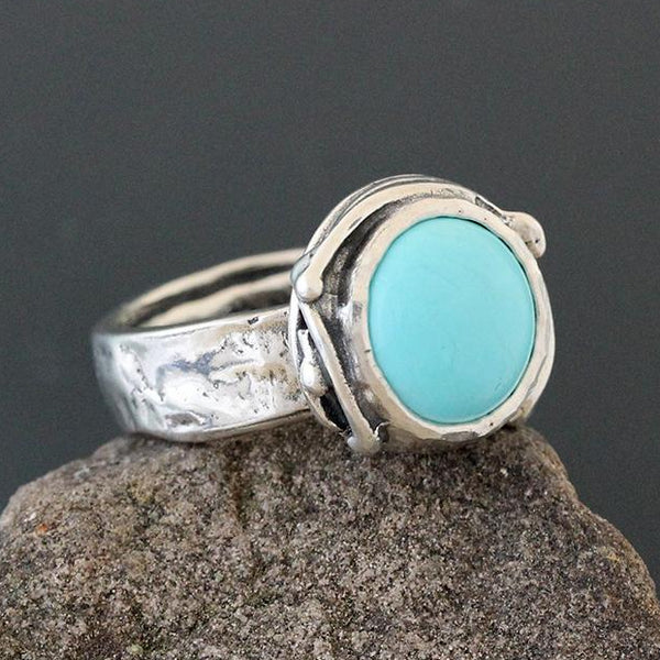 Sterling Silver and Turquoise Ring with Vine Bezel