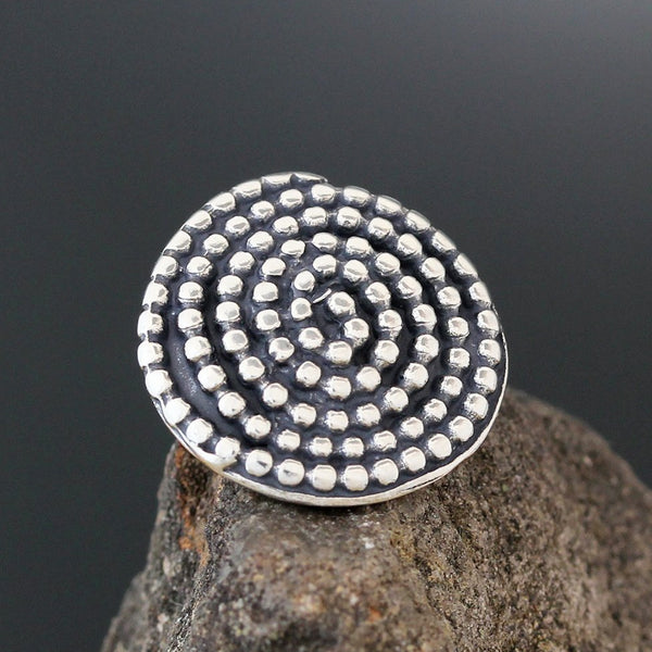 Sterling Silver Beaded Spiral Pin
