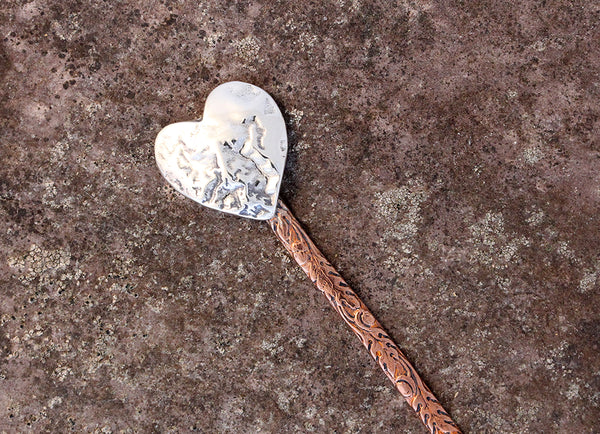 Sterling Silver Heart & Copper Hair Stick