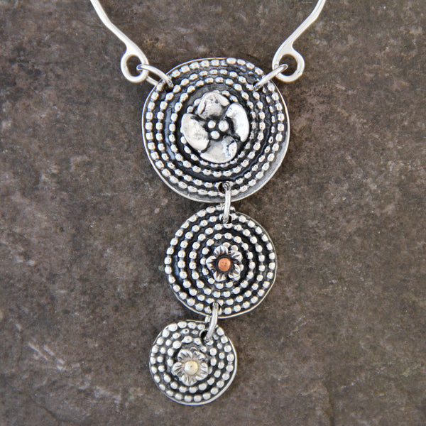 Triple Beaded Spiral Necklace with Mixed Metal Elements