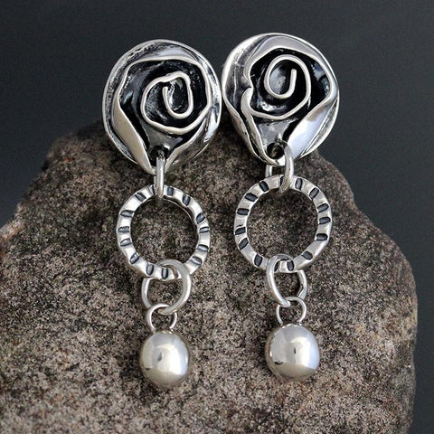 Sterling Silver Rose, Hoop and Drop Earrings