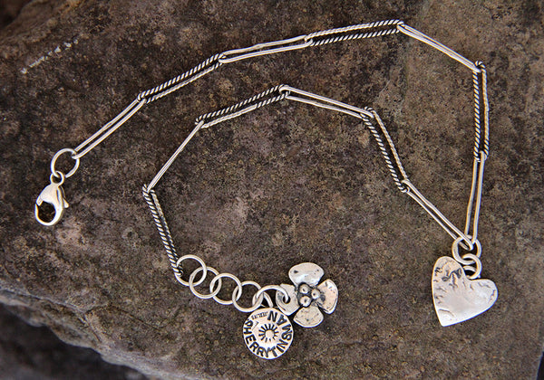 Sterling Silver Heart Charm Anklet