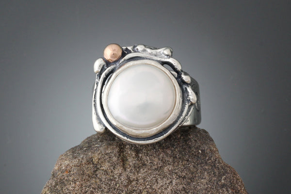 Rose Marie Ring - Sterling Silver Freshwater Pearl Ring with Rose Gold Ball