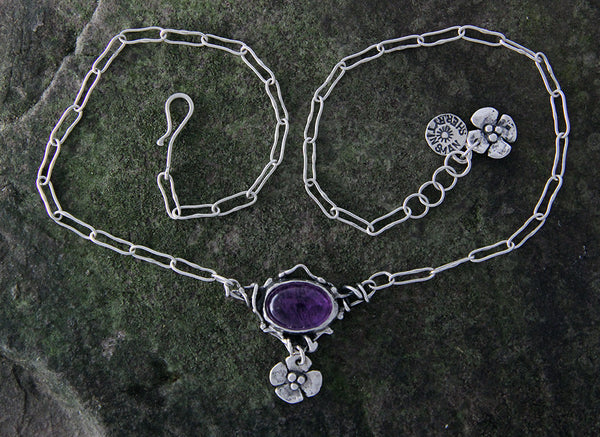 Amethyst Necklace with Dogwood Flower Drop