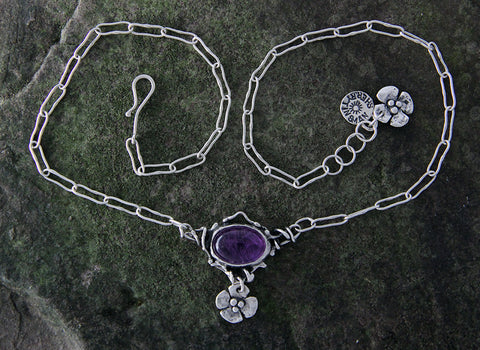 Sterling Silver and Amethyst Necklace with Dogwood Flower Drop
