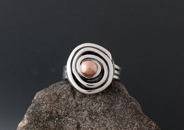 Sterling Silver Spiral Ring with Copper Ball
