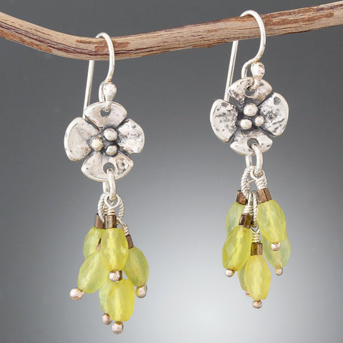 Sterling Silver Dogwood Flower Earrings with Yellow Jade Stone Cluster