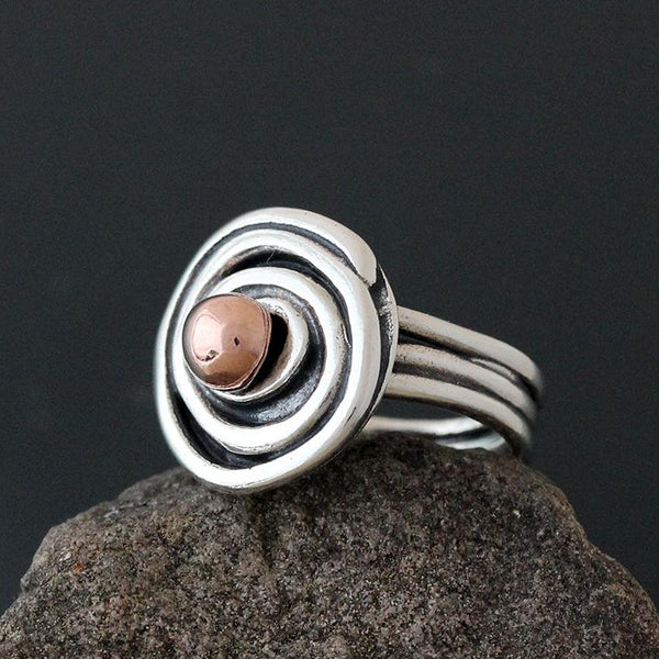 Spiral Ring with Copper Ball