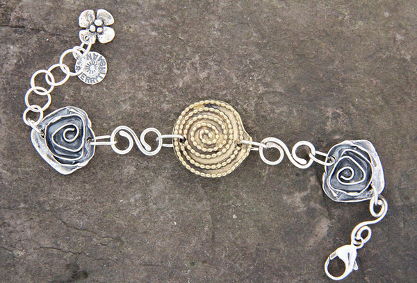 Sterling Silver & Brass Beaded Spiral and Rose Bracelet