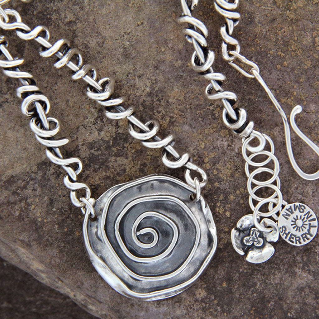 Sterling Silver Rose Necklace with Wrapped Vine Sides