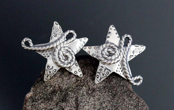 Sterling Silver Rope Star Earrings