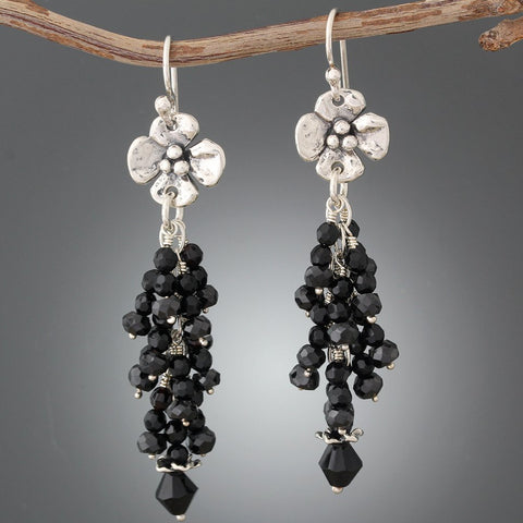 Sterling Silver Dogwood Flower and Black Onyx Earrings
