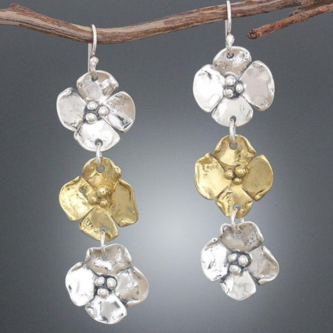 Sterling Silver & Brass Triple Dogwood Drop Earrings
