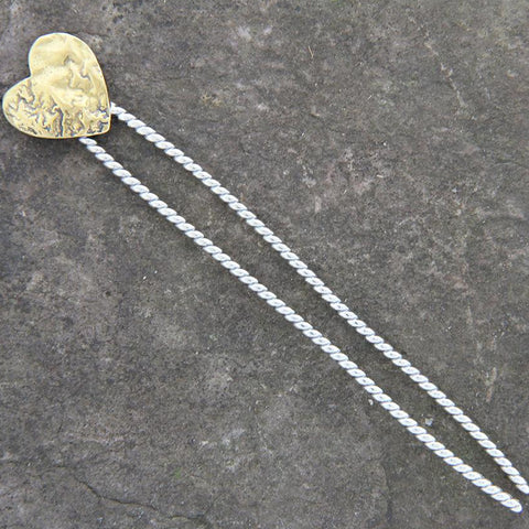 Sterling Silver Heart Hair Pin with Silver or Brass Heart