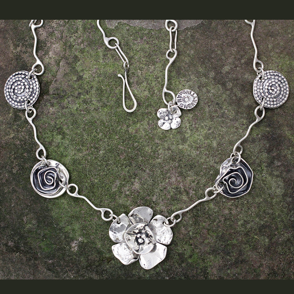 Sterling Silver Double Dogwood, Rose & Beaded Spiral Necklace
