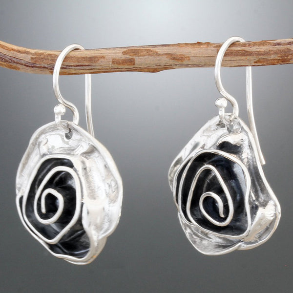 Sterling Silver Medium Rose Earrings