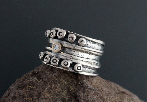 Sterling Silver Nordic Band Ring with Diamond in Gold Bezel