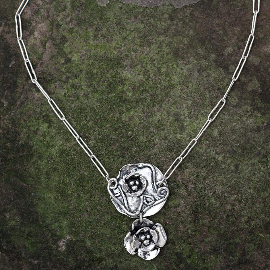 Sterling Silver Abstract Necklace with Dogwood Flower Drop