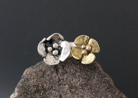 Sterling Silver and Brass Dogwood Flower Open Ring