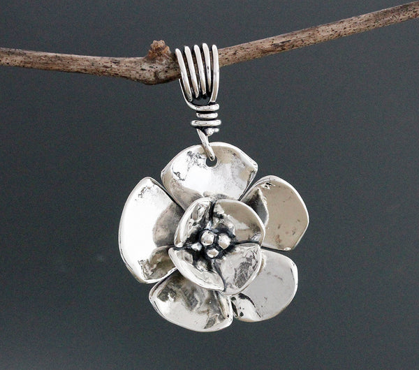 Sterling Silver Double Dogwood Pendant