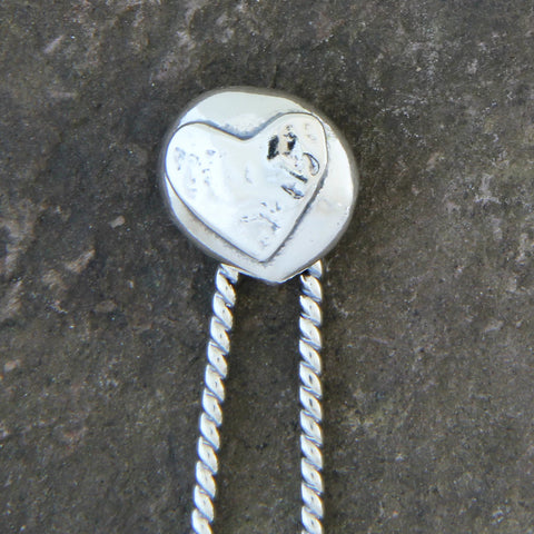 Sterling Silver Heart Ball Hair Pin
