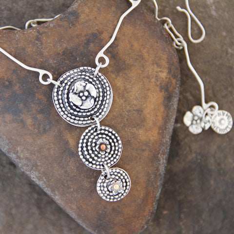 Sterling Silver Triple Beaded Spiral Necklace with Mixed Metal Elements