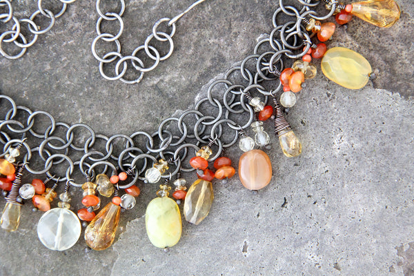 Oxidized Orange Stone Necklace