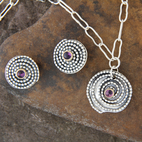 14k Gold and Sterling Silver Beaded Spiral & Amethyst Earrings and Necklace Jewelry Set