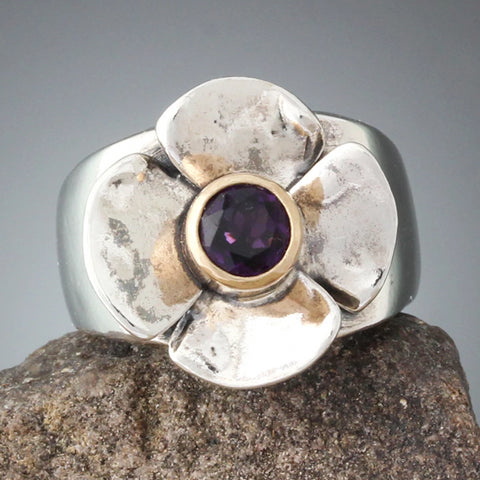 Sterling Silver Flower Ring with Amethyst in 14k Gold Bezel - Size 6 1/4