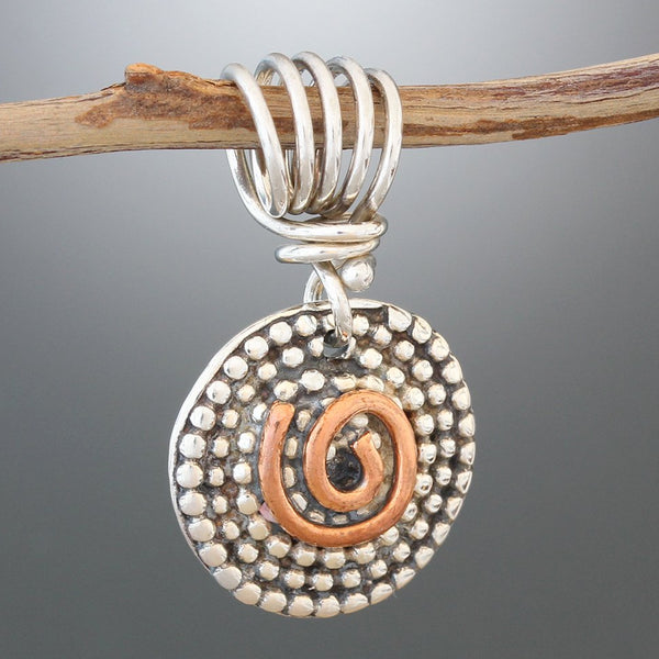 Sterling Silver Beaded Spiral Pendant with Copper Swirl