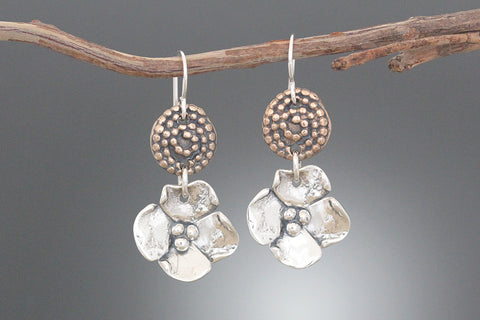 Copper Beaded Spiral and Sterling Silver Dogwood Earrings