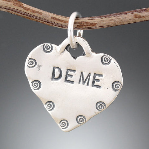 Sterling Silver Stamped Heart Pet Tag