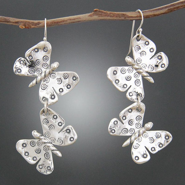 Sterling Silver Double Butterfly Earrings
