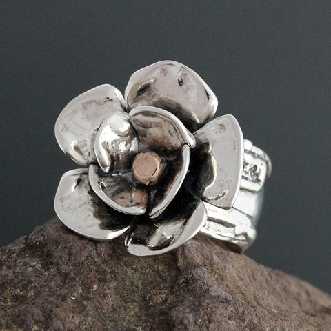 Sterling Silver Wide Vine Dogwood Ring with Rose Gold Center
