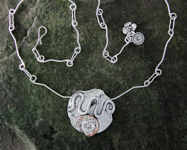 Sterling Silver Abstract Mixed Metal Necklace