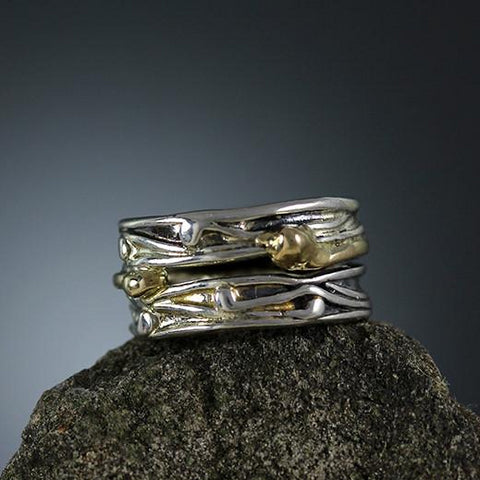 Sterling Silver and Gold Band Ring 3 - Size 6