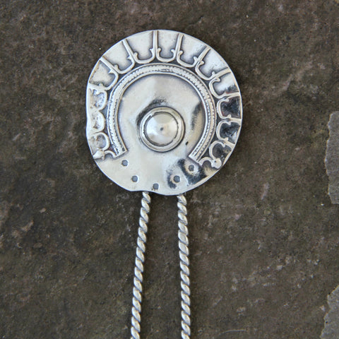 Sterling Silver Shield Hair Pin