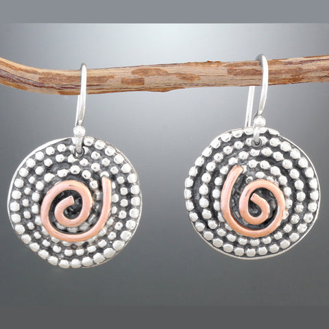 Sterling Silver Beaded Spiral Earrings with Copper Swirl