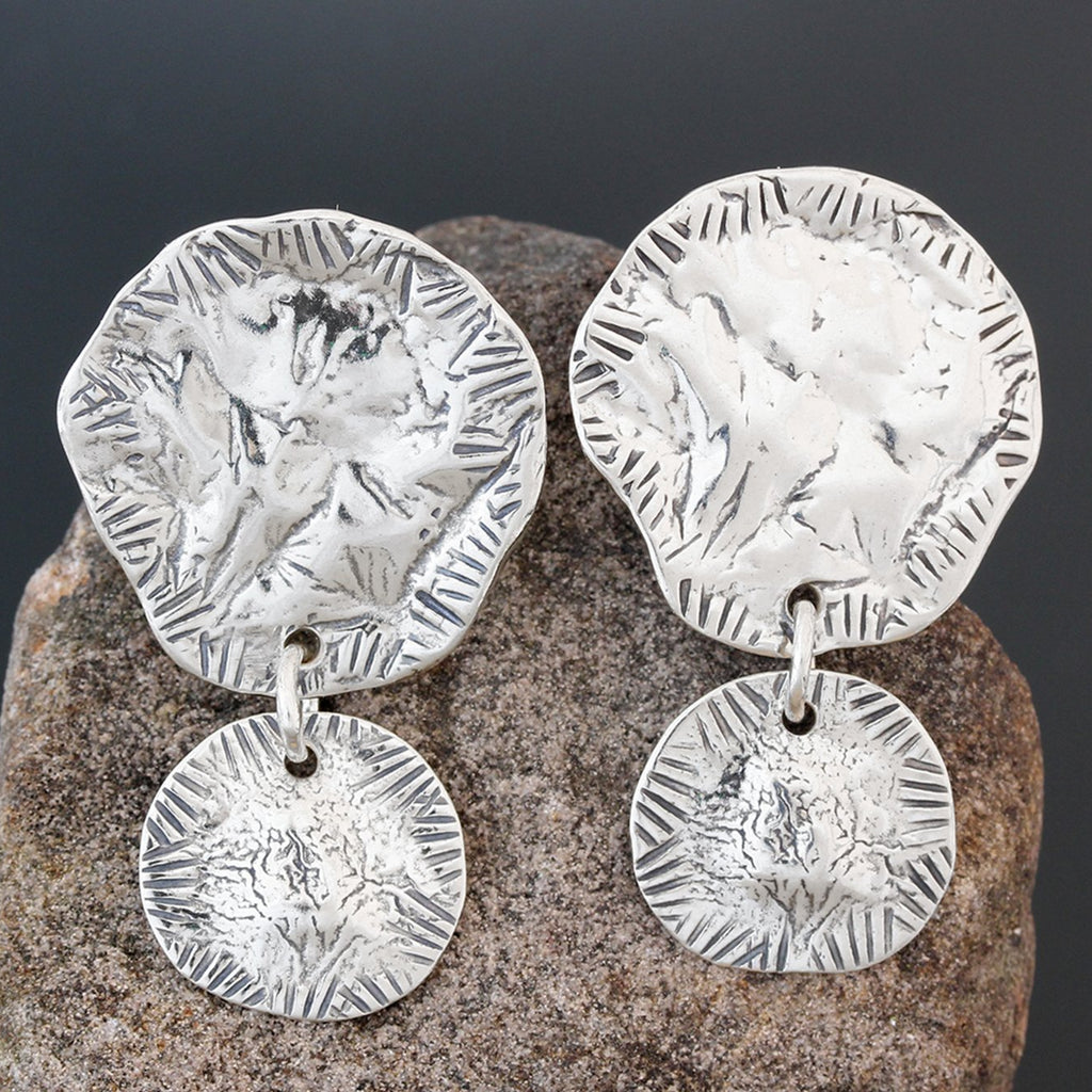 Sterling Silver Double Disk Earrings