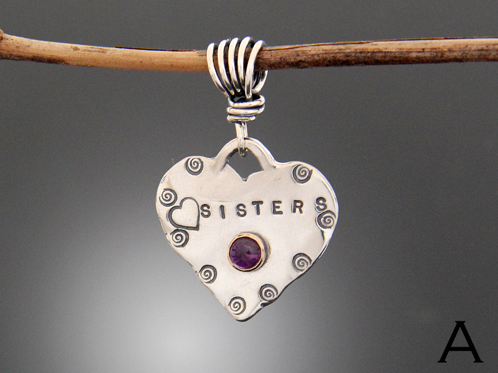 "Sterling Silver ""Sisters"" Pendant with Amethyst in Gold Bezel"