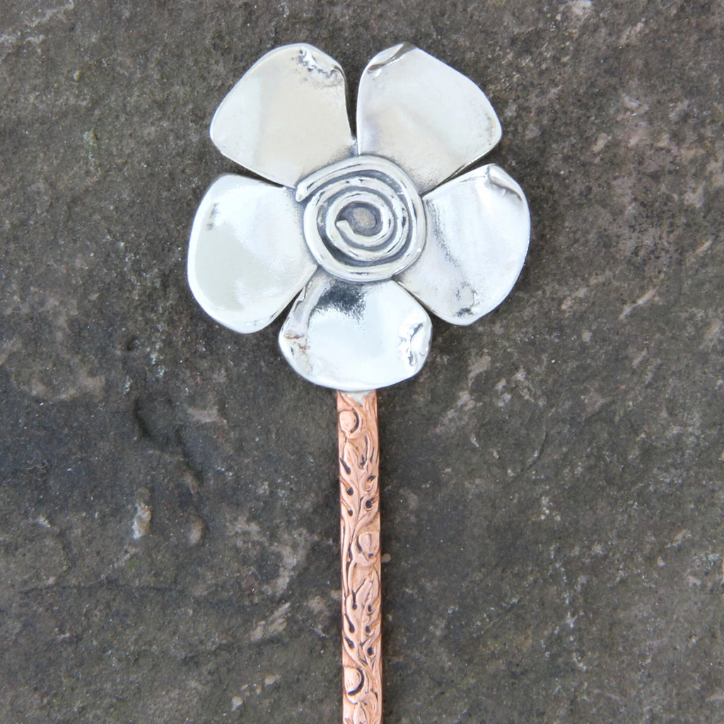 Spiral Flower & Copper Hair Pin