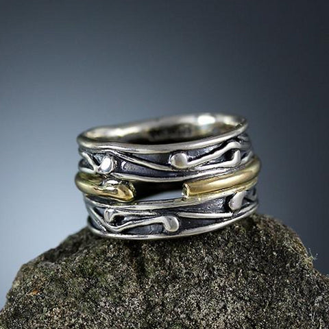 Sterling Silver and Gold Band Ring 5 - Size 6 1/4