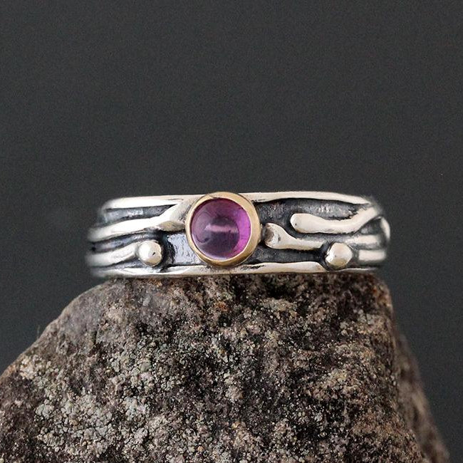 Sterling Silver Vine Ring with Amethyst in Gold Bezel