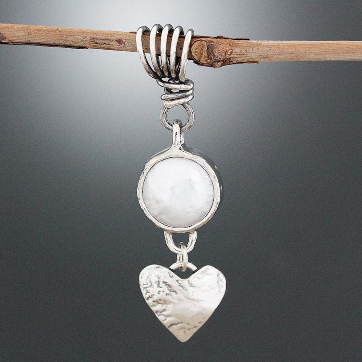 Sterling Silver Pearl Pendant with Heart Dangle