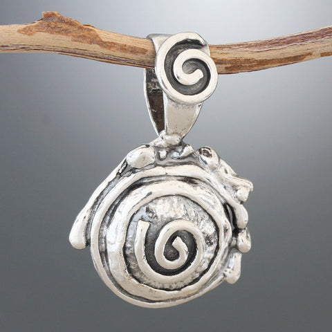 Sterling Silver Structured Spiral Pendant