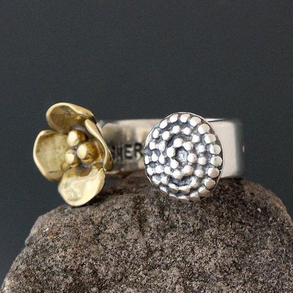 Dogwood & Beaded Spiral Open Ring