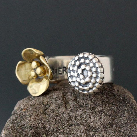Sterling Silver and Brass Dogwood & Beaded Spiral Open Ring